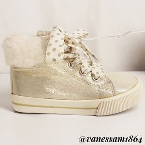 Cat & Jack Gold Shimmer High Top Sneakers NWT 6